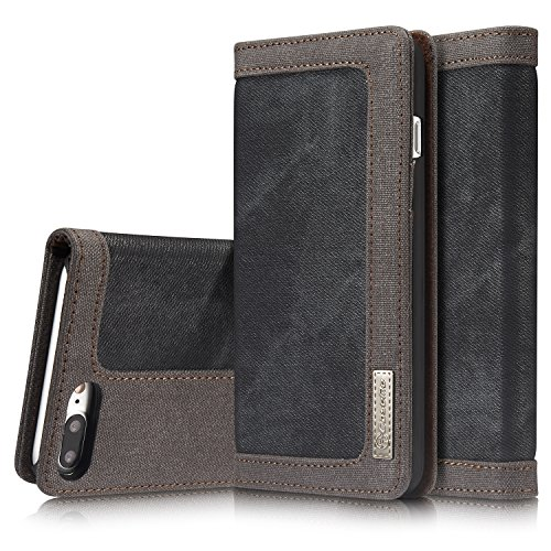 Preisvergleich Produktbild Roreikes Apple iPhone 7 Plus Hülle, iPhone 7 Plus Case (5.5 Zoll), [Denim-Serie-Mappen-Kasten] echten Premium Leinwand Flip Folio Denim Abdeckungs-Fall, Slim Case mit Ständer Funktion und Identifikation-Kreditkarte Slots für Apple iPhone 7 Plus (5.5 Zoll) - Schwarz