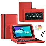 Deutsche Qwertz Tastatur für Jay-Tech TXE10DW Tablet PC Etui Schutz Hülle mit Touch Pen - Tastatur 10.1 Zoll Rot