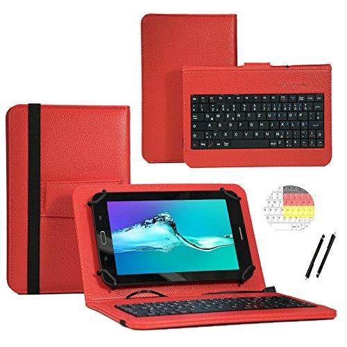 Deutsche Qwertz Tastatur für MEDION LIFETAB S10346 MD 99282 Tablet PC Etui Schutz Hülle mit Touch Pen - Tastatur 10.1 Zoll Rot