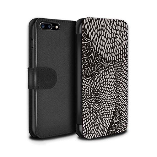 Stuff4 Coque/Etui/Housse Cuir PU Case/Cover pour Apple iPhone 8 Plus / Pétales Minuscules Design / Mode Noir Collection Pétales Minuscules