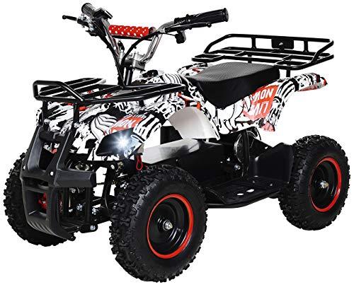 Actionbikes Motors Kinder Elektro Miniquad ATV Torino 800 Watt 36 Volt - Scheibenbremsen - Safety Touch System Fußschalter (Pirate)