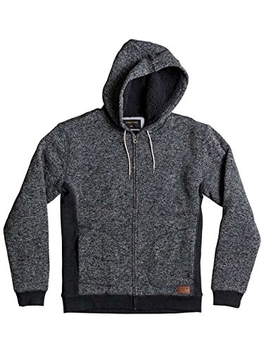 Quiksilver Herren Keller Sherpa-Zip-Up Polar Fleece Hoodie Dark Grey Heather