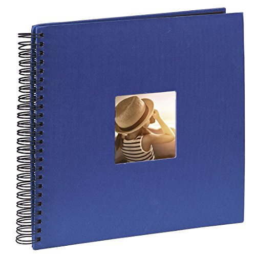 Hama Jumbo Fotoalbum, 36 x 32 cm, 50 schwarze Seiten, 25 Blatt, mit Ausschnitt für Bildeinschub, Fotobuch blau
