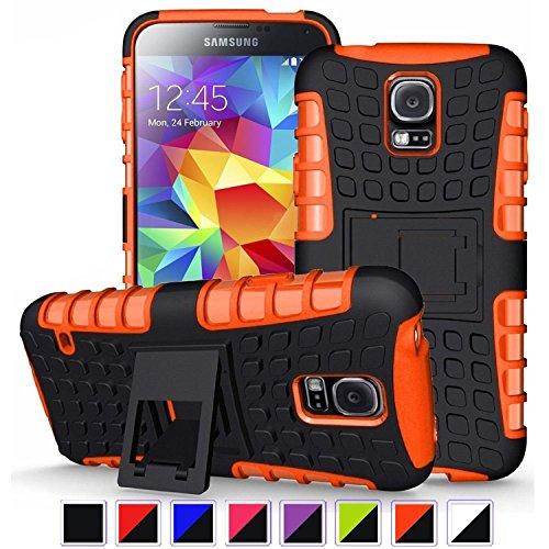Preisvergleich Produktbild Nnopbeclik Samsung Galaxy S5 / S5 Neo Hülle,  Dual Layer Rugged Armor stoßfest Handy Schutzhülle Silikon Tasche für Samsung Galaxy S5 / S5 Neo - Orange + 1x Display Schutzfolie Folie