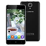 Landvo XM200 Pro Unlocked 4G FDD-LTE Smartphone, 5.0'' IPS HD Screen Android 6.0 MT6737 Quad Core 1.3GHz SIM-free Mobile Phone Dual SIM 2GB RAM+16GB ROM with Dual Camera (5.0/2.0MP) GPS WIFI Bluetooth Smart Wake GSM/WCDMA Cellphone (Black)
