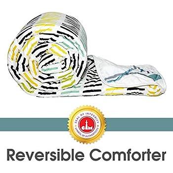 Divine Casa Luxor Striped Microfibre Single Comforter - Sky Blue and Black (110 GSM)