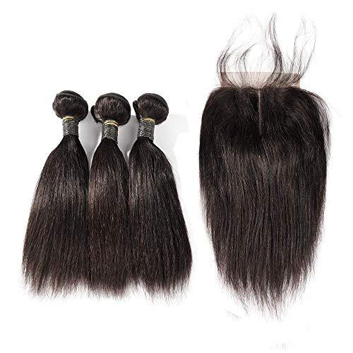 Blisshair capelli umani dritti 3 bundles with closure 8a brazilian virgin hair short bob weave with 4x4 three part lace closure natural color (10 10 10+8inch)