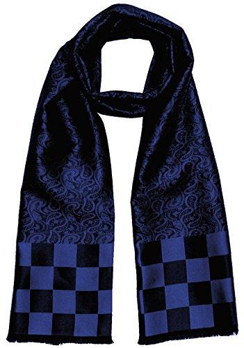 LORENZO CANA Luxus Herren Schal aus 100{882ca2680b54847f6ce4eb91f904dc3fa88bb29885a7d9a430b158f48be96b76} Seide aufwändig jacquard gewebter Damast Seidenschal Seidentuch Tuch blau 25 cm x 160 cm - 8921311