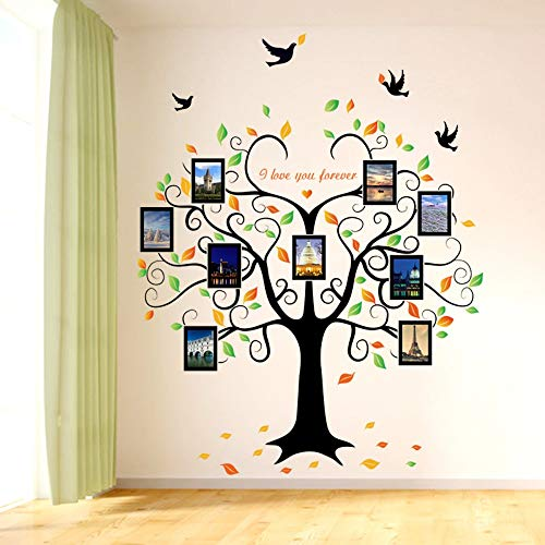 Wjuan adesivi murali grande 240 cm / 80 pollici family tree photo frame rimovibile wall sticker love tree ti amo per sempre bird butterfly decalcomania della parete diy