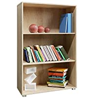 Deuba Bookcase Vela Bookshelf Night Stand Narrow Storage Display Unit Shelves Oak Living Room Bedroom