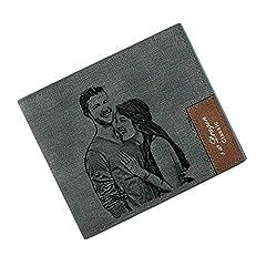 Idea Regalo - Portafoglio Personalizzato Uomo, Portafoglio Personalizzato con Foto per uomocon Scheda di blocco RFID per maschi Regalo del papà (Grigio)