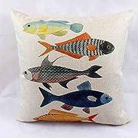 ZMMM Cotone lino Square Decorative Throw Pillow Cuscino custodia (pesci