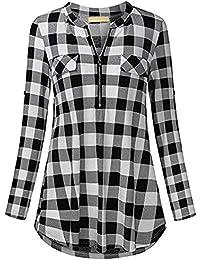 VJGOAL Moda Casual de Las Mujeres con Cuello en v de Manga Larga Casual enrollar Plaid botón túnica Blusas Tops