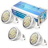 Elinkume 4X GU10 LED Bulb 6W Ampoule LED 16 SMD 5630LED Spot lampe de salon 480-500LM Blanc Chaud (3000K) AC 90-240V
