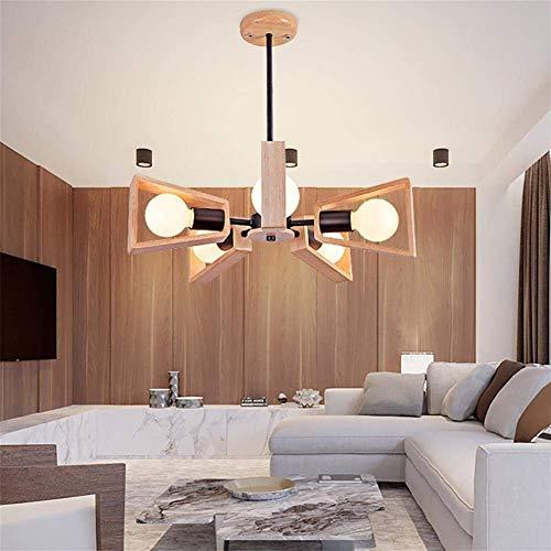 Mini-kronleuchter, 5-licht (AOLIr Pendelleuchte Kreative Moderne Mini Stil Lüfter Kronleuchter Eiche Deckenleuchte 5-Licht für Flur Schlafzimmer Küche Kinderzimmer 5X40W Led Birne Enthalten Warmweißes Licht)