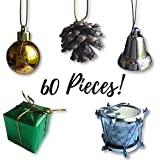 "Mini Christmas Ornaments - Set Of 60 Small Tree Decorations - Silver, Gold And Green Miniature Balls, Pine Cones, Bells, Packages And Drums - 1 1/2"" Size"