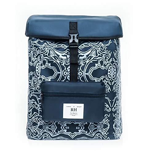 RH Rucksack Backpack Schulrucksack Laptoprucksack Daypack Schultasche Reisetasche Wanderrucksack für Damen Herren Jungen Mädchen (Navy blau)