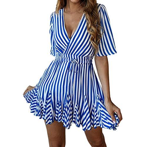 NINGSANJIN Rockabilly Kleider Damen gr.52,bonprix Damen Kleider,Sommer Kleider für Damen gelb,Blau L