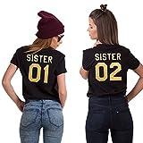 Best Friends T-Shirts für 2 Mädchen Sister Aufdruck – Sommer Oberteile Set für Zwei Damen Freunde Freundin Geburtstagsgeschenk (Gold + Gold, 01-S + 02-M)