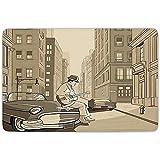 FANCYDAY Tapis de Tapis de Salle de Bain, Musique Jazz, Illustration d'un Guitariste dans Une Vieille Rue de New York Buildings Music Cityscape, Beige, Flanelle Microfibre