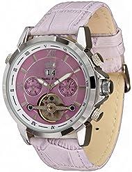 Lindberg & Sons Reloj Automático piraeus Esfera de Color Púrpura Y Correa De Piel