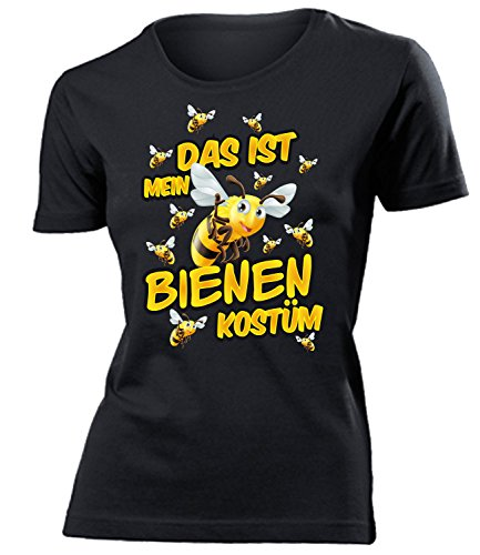 Bienen Kostüm Kleidung 1573 Damen T-Shirt Frauen Karneval Fasching Faschingskostüm Karnevalskostüm Paarkostüm Gruppenkostüm Schwarz S