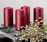 Kerzen Safe Candle Markenkerzen Adventskerzen Stumpenkerzen 100/50 mm dunkelrot weinrot rot, 12 Stk.