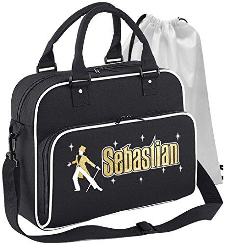 p Hat Tails Cane - Schwarz + Weißes White -Personalisierte Tanztasche & Schuh Tasche Dance Bags MusicaliTee (Schwarz Tophat)
