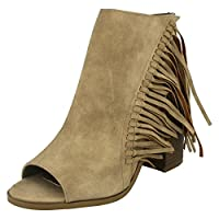 Ladies Spot On Open Toe And Open Ankle Zip Up Boot With Tassles