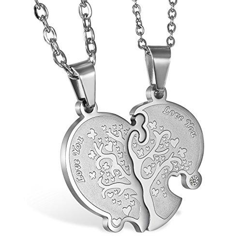 JewelryWe 1 Par Collares de Parejas Enamorados Corazón Partido, Colgante de Árbol de la Vida Plateado Collar Hombre Mujer Acero Inoxidable, Regalo de San Valentín/Navidad