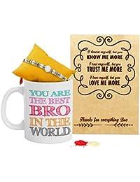 TIED RIBBONS Rakhi for Brother with Gift (Designer Rakhi, Printed Coffee Mug, Rakshabandhan Special Card, Roli Chawal)