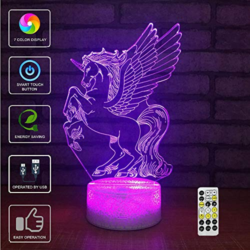Lámpara De Mesa 3D Night Light Touch,7 Color Phantom Unicornio Atmosphere Light, con Base Acrílica Y Luces LED Inteligentes Decorativas USB (Style 14)