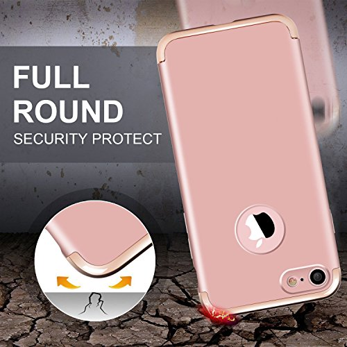 iPhone 7 Hülle, Imikoko Ultra Schlank 3 In 1 Hybrid Elektroplattierter Kappen Hart Hard PC Case Schale Schutz Schutzhülle Tasche Bumper mit Chrom Rahmen für Apple iPhone 7(Blau) Rosegold