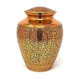 Aesthetische Urne Messing Urne für Asche Einäscherung Gedenkstein Gold geschnitzt Blätter Beerdigung Asche Vase Behälter für menschliche Überreste