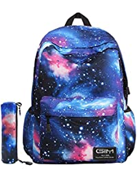 a2a55ca9970 Global I Mall Unisex Galaxy School Backpack Canvas Rucksack Laptop Book Bag  Satchel Hiking Bag