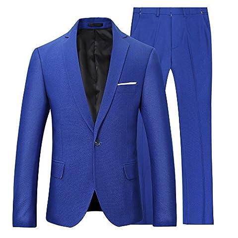 Hommes Parti Costume Formel Deux-Pièces un Bouton Blazer+Pantalons affaires Business Mariage Elégant Classique Slim Fit