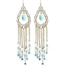 Boho Hippie Chic Luxus lunga orecchini filigrana Laser Cut tutti perline, cristallo tonalità blu 10,8cm di lunghezza