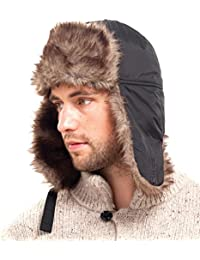 Mens Trapper Hat Fleece Lined and Fur