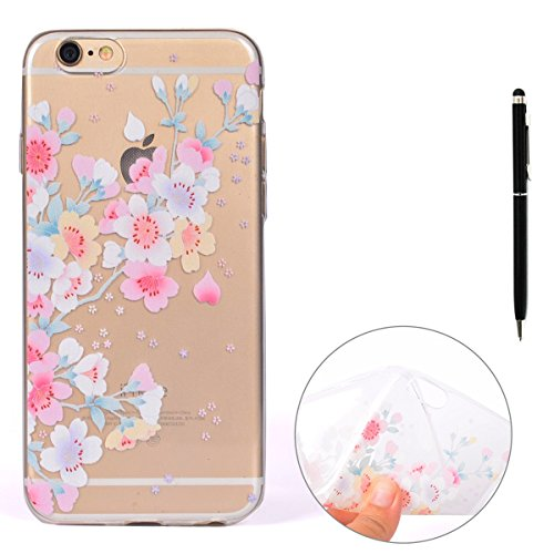 Cover TPU per iPhone 6,per iPhone 6S Custodia, ZCRO Silicone Morbida Gomma TPU Gel Trasparente Clear Ultra Sottile Caso Bumper Flessibile Cover Case con Nero Penna Stilo per iPhone 6/6S 4.7 Pollici (F Fiori Colorate