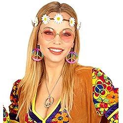 Kit costume hippie avec bandeau, boucles d'oreilles et lunettes bijou de cheveux Flower Power habits années 60 70 vêtements de femme sixties accessoires accessoires de mode femme
