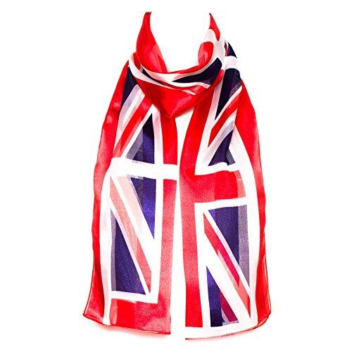 Ladies Union Jack Scarve/Scarf Nationality Symbol - (Red-White-Blue)