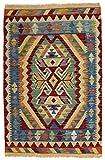 CarpetFine: Kelim Afghan Teppich 80x120 Blau,Rot - Geometrisch