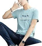 Hombres Casuales Color Solido Impresión De Cartas De Manga Corta Ronda Cuello Bodycon Delgada Camisa De La Blusa Camiseta SDAgua Azul L
