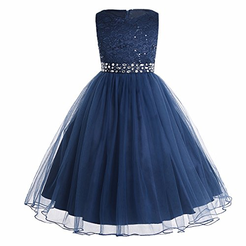 Tiaobug Festliches Mädchen Kleider Lange Brautjungfern Kinder Kleider Hochzeit Party Prinzessin Blumenmädchen Kleid Gr. 92-164 Marineblau 104 (Blumenmädchen Blau Kleid)