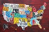LICENSE PLATE MAP USA Poster Drucken (60,96 x 91,44 cm)