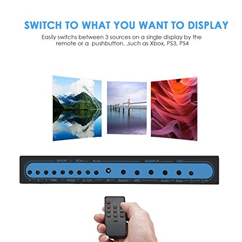 4K@60Hz HDMI Switch 3x1 with Optical SPDIF & RCA L/R Audio Out, FiveHome 3  In 1 Out HDMI Audio Extractor Splitter with Remote, Supports ARC, 4Kx2K,