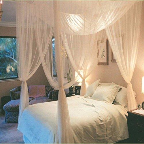 Mosquitera 4 esquinas cama romantica, cenador, chillout, jardin, proteccion anti insectos anti polen con 4 fijaciones incluidas de OPEN BUY