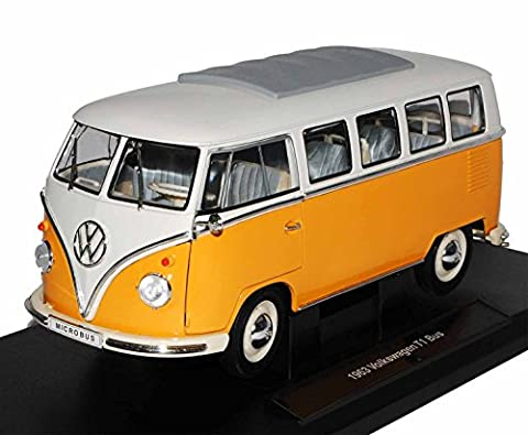 VW Volkswagen T1 Orange Gelb Weiss Samba Bully Bus 1950-1967 1/18 Welly Modell Auto