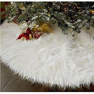 Falda del árbol de navidad, 90cm blanco falsa estera del árbol faldas de la decoración del día de fiesta, interior al aire libre decoración del partido de Navidad en casa (Blanco, Pequeño)