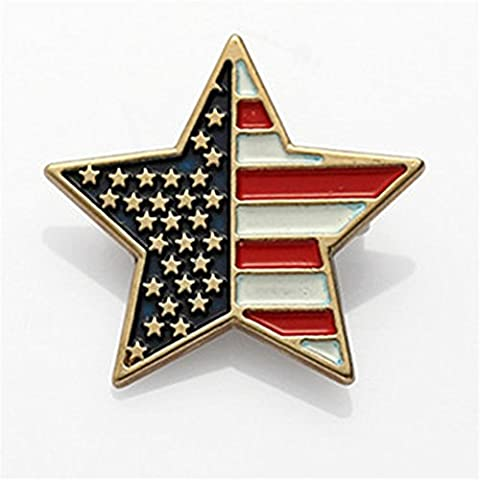 MGS Men's Lapel Pin Brooch Emblem Badge Stars & Stripes The Old Glory US American Flag Copper Gold Suit Shirt Wedding Gift